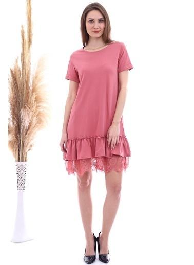 Cottonmood 20063103 Süprem Eteği Dantelli Kısa Kol Elbise Bısküvı Kırmızı